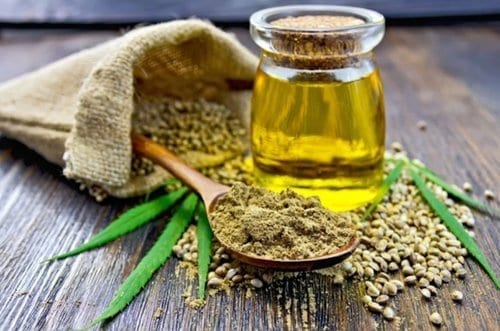 Spoon full of hemp powder with hemp oil and seeds